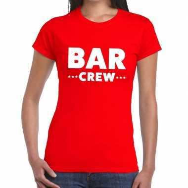 Goedkope personeel t shirt rood met bar crew bedrukking voor dames