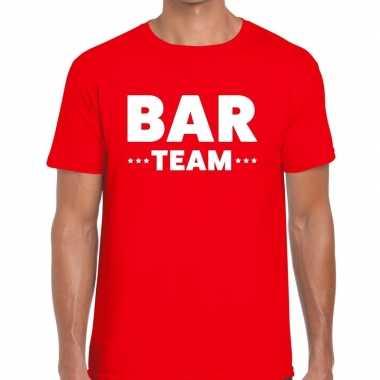 Goedkope personeel t shirt rood met bar team bedrukking voor heren