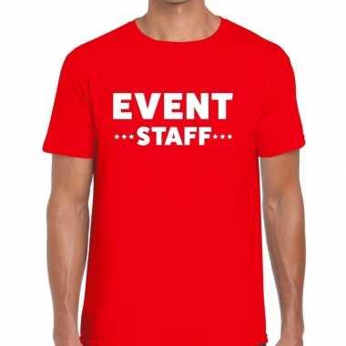 Goedkope personeel t shirt rood met event staff bedrukking voor heren