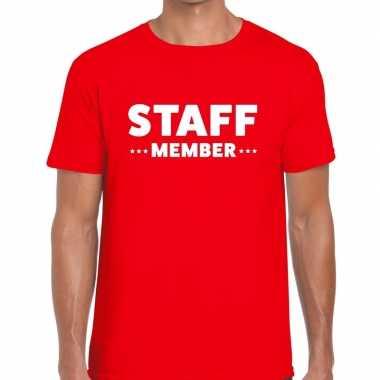 Goedkope personeel t shirt rood met staff member bedrukking voor here