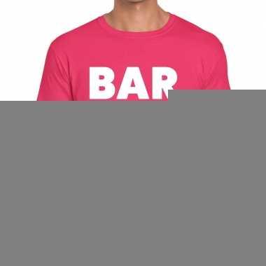 Goedkope personeel t shirt roze met bar crew bedrukking voor heren