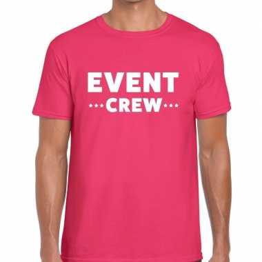 Goedkope personeel t shirt roze met event crew bedrukking voor heren