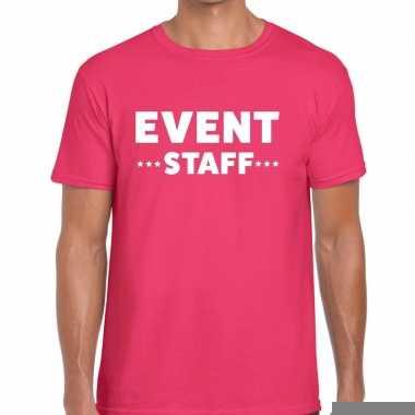 Goedkope personeel t shirt roze met event staff bedrukking voor heren