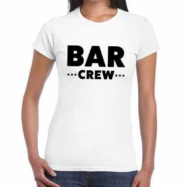 Goedkope personeel t shirt wit met bar crew bedrukking voor dames