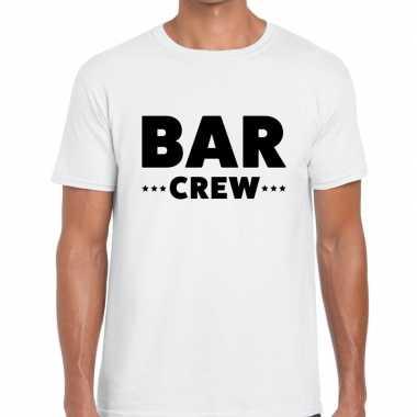 Goedkope personeel t shirt wit met bar crew bedrukking voor heren
