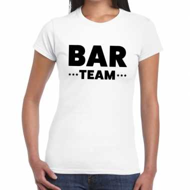 Goedkope personeel t shirt wit met bar team bedrukking voor dames