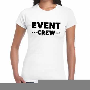 Goedkope personeel t shirt wit met event crew bedrukking voor dames