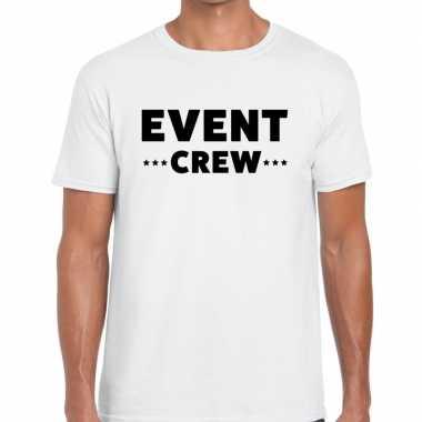 Goedkope personeel t shirt wit met event crew bedrukking voor heren