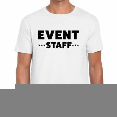 Goedkope personeel t shirt wit met event staff bedrukking voor heren