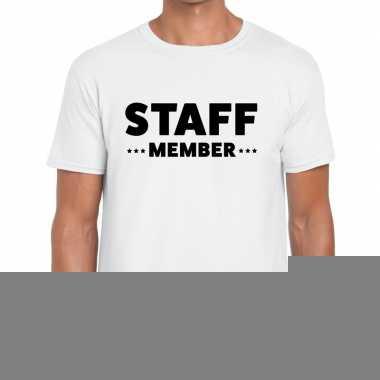 Goedkope personeel t shirt wit met staff member bedrukking voor heren