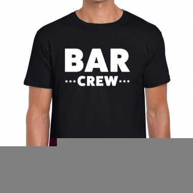 Goedkope personeel t shirt zwart met bar crew bedrukking voor heren