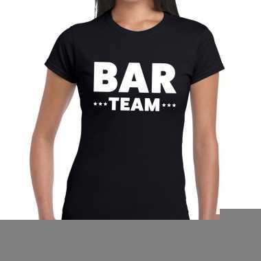 Goedkope personeel t shirt zwart met bar team bedrukking voor dames