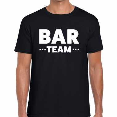 Goedkope personeel t shirt zwart met bar team bedrukking voor heren