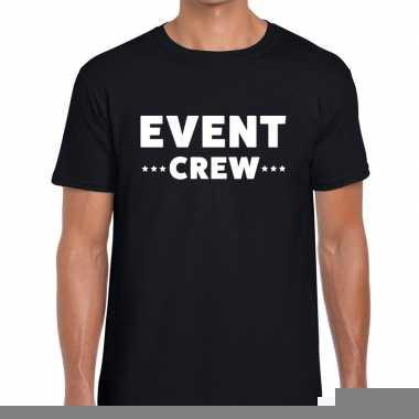Goedkope personeel t shirt zwart met event crew bedrukking voor heren