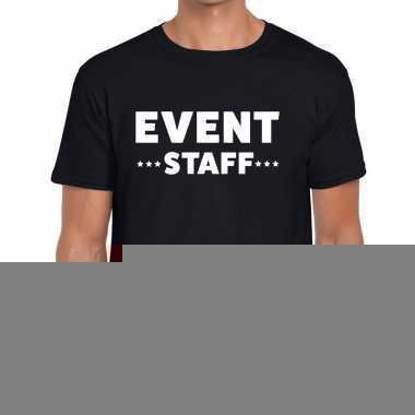 Goedkope personeel t shirt zwart met event staff bedrukking voor here