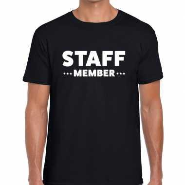Goedkope personeel t shirt zwart met staff member bedrukking voor her