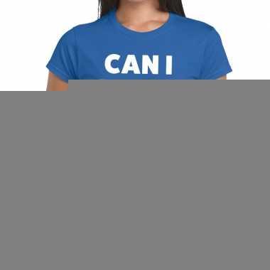 Goedkope personeel tekst t shirt blauw met can i help you? bedrukking