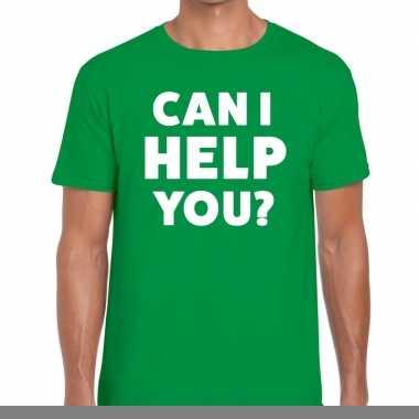 Goedkope personeel tekst t shirt groen met can i help you? bedrukking