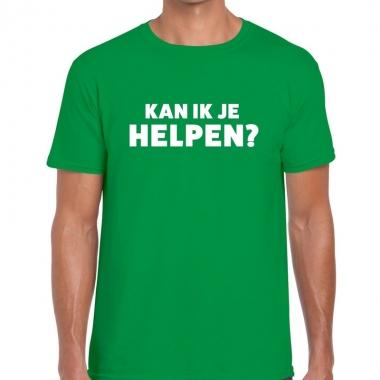 Goedkope personeel tekst t shirt groen met kan ik je helpen bedrukkin