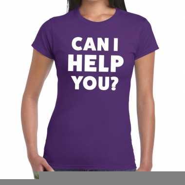 Goedkope personeel tekst t shirt paars met can i help you? bedrukking