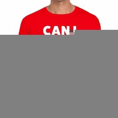 Goedkope personeel tekst t shirt rood met can i help you? bedrukking