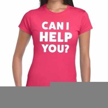 Goedkope personeel tekst t shirt roze met can i help you? bedrukking