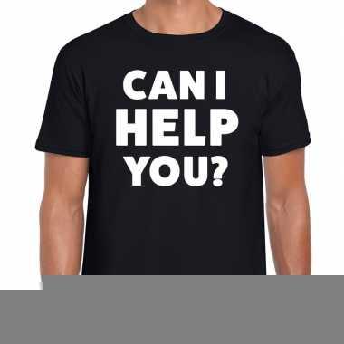 Goedkope personeel tekst t shirt zwart met can i help you? bedrukking