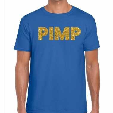 Goedkope pimp fun t shirt blauw voor heren