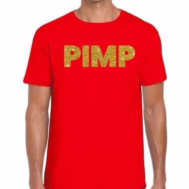 Goedkope pimp fun t shirt rood voor heren