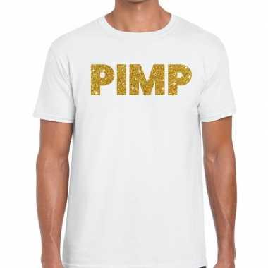 Goedkope pimp fun t shirt wit voor heren