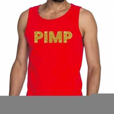 Goedkope pimp fun tanktop / mouwloos shirt rood voor heren