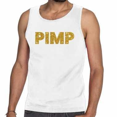 Goedkope pimp fun tanktop / mouwloos shirt wit voor heren