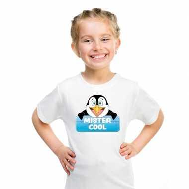 Goedkope pinguin dieren t shirt wit voor kinderen