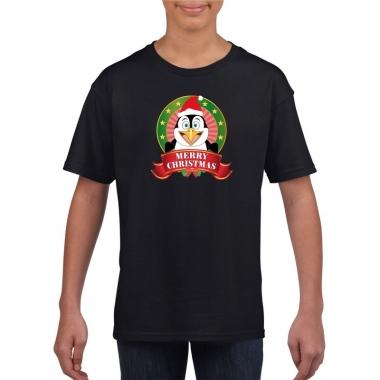 Goedkope pinguin kerstmis shirt zwart voor jongens en meisjes