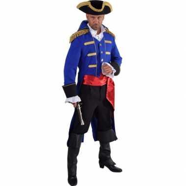 Goedkope piraat verkleed jas blauw voor heren