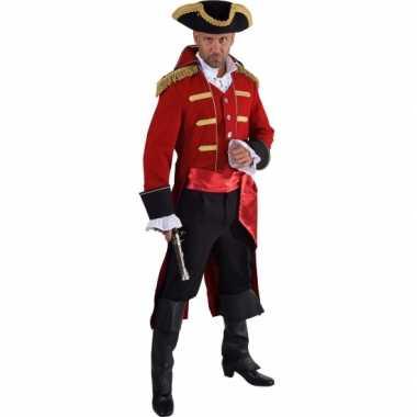 Goedkope piraat verkleed jas rood voor heren