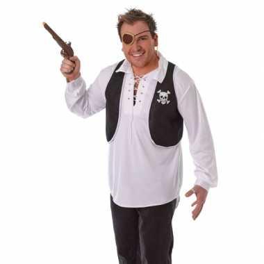 Goedkope piraten jasje zonder mouwen zwart