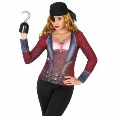 Goedkope piraten shirt verkleedoutfit voor dames