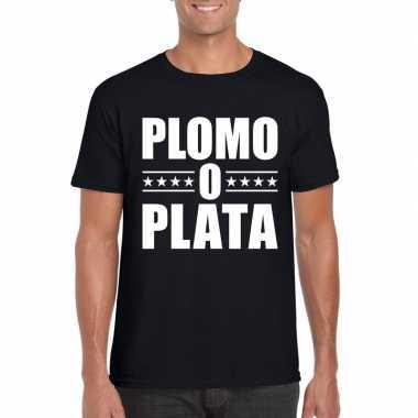 Goedkope plomo o plata shirt zwart voor heren