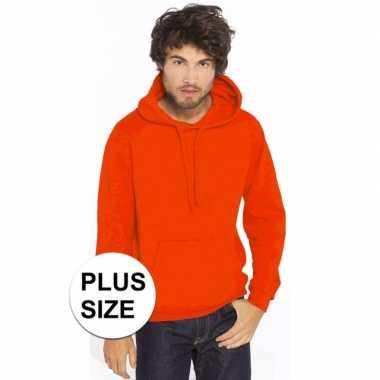 Goedkope plus size oranje heren truien/sweaters met hoodie/capuchon