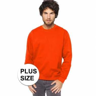 Goedkope plus size oranje heren truien/sweaters met ronde hals