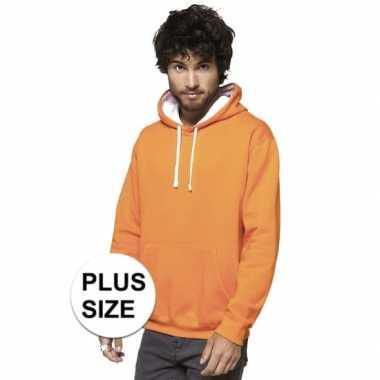 Goedkope plus size oranje/witte heren truien/sweaters met hoodie/capu