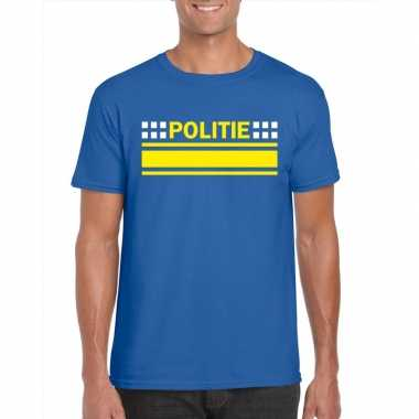 Goedkope politie agenten shirt blauw voor heren