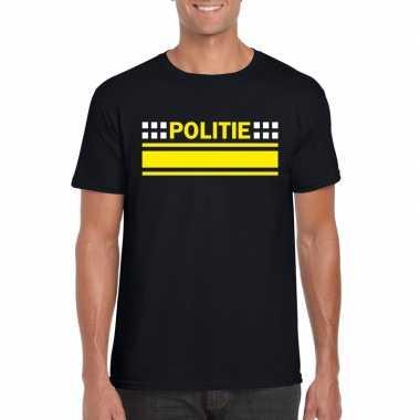 Goedkope politie agenten shirt zwart voor heren