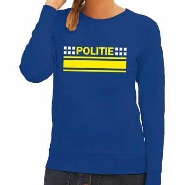 Goedkope politie agenten sweater / trui blauw voor dames