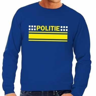 Goedkope politie agenten sweater / trui blauw voor heren