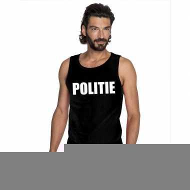 Goedkope politie mouwloos shirt zwart voor heren