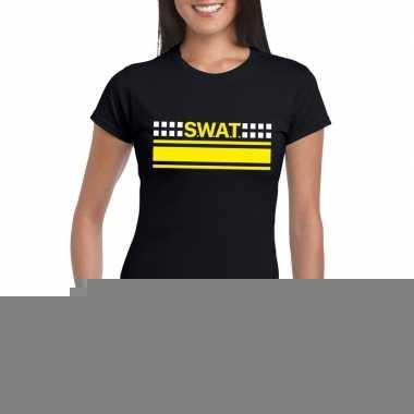 Goedkope politie swat arrestatieteam shirt zwart voor dames