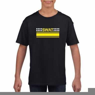 Goedkope politie swat arrestatieteam shirt zwart voor kinderen
