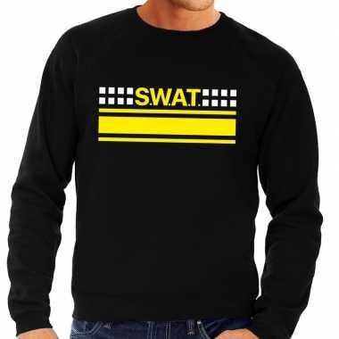 Goedkope politie swat arrestatieteam sweater / trui zwart voor heren